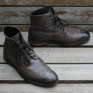 B2 Browns Gray Stained Wingtip Boots, Men's 40 EUC